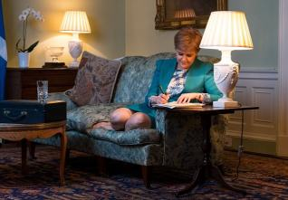 Picture Shows; Scotland's First Minister Nicola Sturgeon in the Drawing Room in Bute House, Edinburgh, working on the final draft of her Section 30 letter to the Prime Minister Theresa May formally taking forward a mandate from the Scottish Parliament for formal discussions to transfer the powers to the Holyrood parliament to hold an independence referendum, Edinburgh, Thursday 30 March 2017. Stuart Nicol Photography 07836 703740 All images © Stuart Nicol Photography 2017. Stuart Nicol Photography 07836 703740 All images © Stuart Nicol Photography 2017.